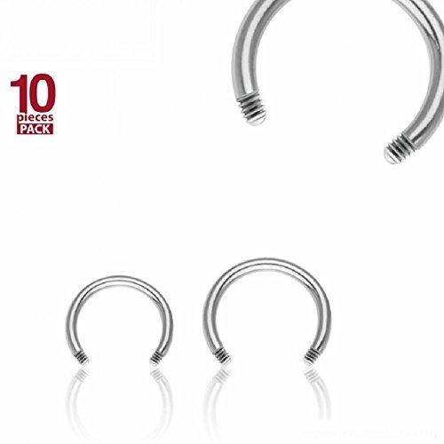 Stahl - CBR Hufeisen - ohne Kugeln - 10er Pack (Piercing CBR Horseshoe für u.a. Lippen Ohr Nasen Intim Tragus silber) 1,6 mm | 9 mm