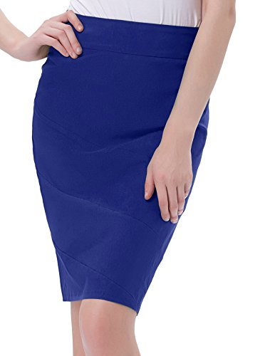 Damen Fashion Retro Hohe Taille Paket Hüfte Casual Business Bleistift Rock Marine Blau Größe L KK269-4 (Stretch-baumwolle-bleistift-rock)