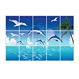 OUNONA Wandaufkleber Küchen Aufkleber Anti Öl Paste Wasserdichte abnehmbare Wandaufkleber Abziehbilder Tapete Fliesen Dekor (Ozean Delphin)