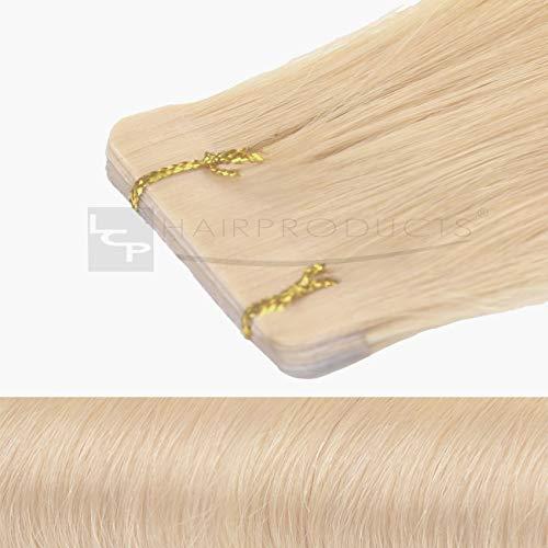 Tape In Extensions 50 cm Echthaar 8er Set Haarverlängerung Haarteile in mittelblond