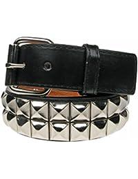 Bullet 69 2 Row Silver Pyramid Stud Unisex Faux Leather Belt Black