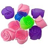 10X Silikon Rose Muffin Cookie Cup Kuchen Backen Form Schokolade Jelly Mould Maker