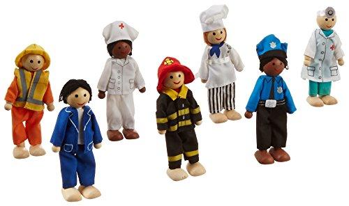 KidKraft 63279 Juego Profesiones de 7 figuras de madera de 12cm compatible con cualquier casa de muñecas