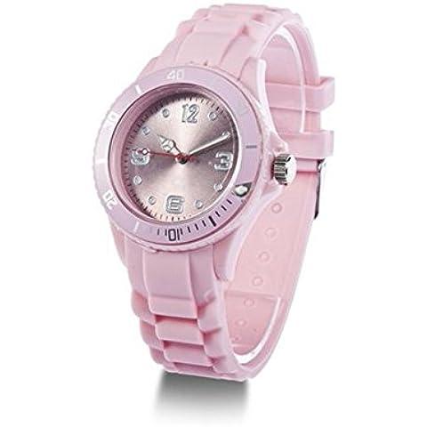 SODIAL(R) Reloj de Pulsera Clasico Banda de Silicona Unisex - Rosa