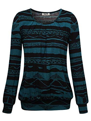 DJT Damen Langarmshirt Rundhals Falten T-Shirt Stretch Tunika Top Blau Blume Medium