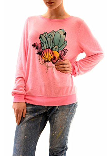 Crystal Girls Pullover (Wildfox Damen Party Girl Crystal OverGrößed Jumper Rosa Größe L)