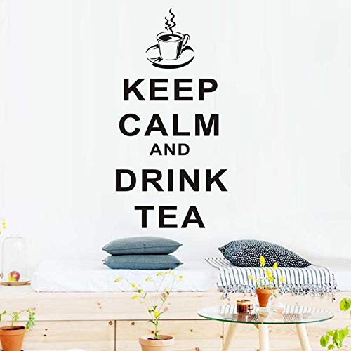 Wall Stickers Decal Tea Cup Pattern Wall Stickers Quotes Keep Calm and Drink Tea Home Decor Wall Removable Art Decals for Teahouse Living Room 58x29cm