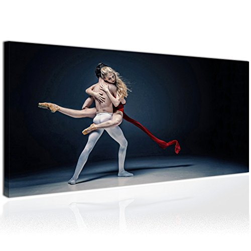 Topquadro XXL Wandbild, Leinwandbild 100x50cm, Silvolles Ballet - Ballerina - Tanz, Liebe und Stil -...
