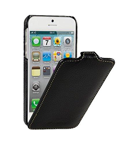 Edle Tasche für Apple iPhone SE , iPhone 5S und iPhone 5 / Case Außenseite aus beschichtetem Leder / Cover Innenseite aus Textil / Schutz-Hülle aufklappbar / ultra-slim / Flip-Case / Farbe: Schwarz (Folio Case Für Iphone 5s)