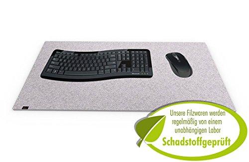 Designer Filz Schreibtischunterlage graumeliert in XXL (ca. 40x80cm groß). Originelle...