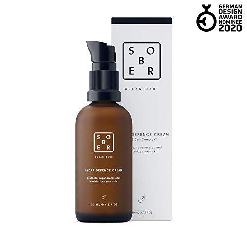 sober® | Hydra Defence Cream | Gesichtscreme für Männer | vitalisierende Feuchtigkeitscreme Herren | Mit Hyaluron, Vitamin C und Aminosäuren | Anti Falten Gesichtspflege für sensible Haut ohne Parfum -