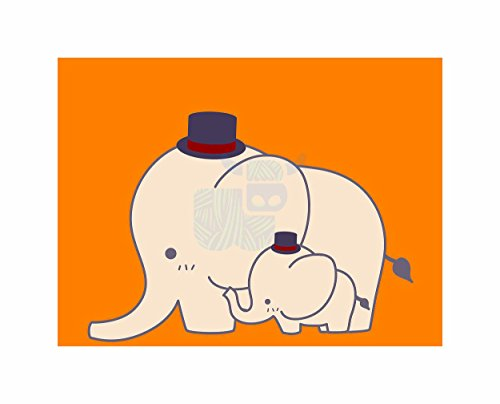 Elephant Tophat Cartoon Kids Children Orange Photo Art Poster Print (C Artoon)
