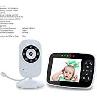 BABIFIS 3.5 Inch Baby Monitor,Elderly Baby Care Monitor,with Digital Camera, Night Vision Temperature Monitoring & 2 Way Talkback System, White