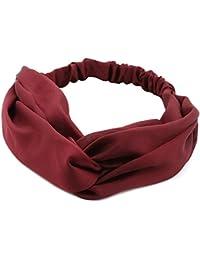 TININNA Moda Solido Colore Ritorto Elastico Fascia per Capelli Wrap Testa  Banda Turbante Hairband Accessori per Capelli per Le Donne… 613c338de315