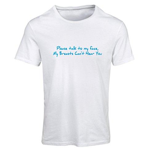 N4023F Bitte sprechen Sie mit Meinem Gesicht Frauen T-Shirts (L, Weiß Blau)