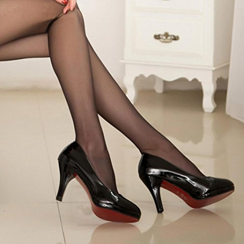 Transer® Damen Geschäft High Heel Mokassins Bürodame Kunstleder+Kunststoff Schwarz Weiß Rot Einzelschuhe Schwarz