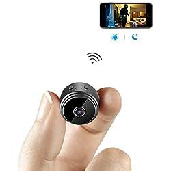 Caméra Espion AOBO Cachée Cam Mini IP WiFi HD1080P Vision Nocturne Détection de Mouvement Caméra de Surveillance de Sécurité pour iPhone/ Android/ Support Maximum Carte de 128G(Pas Incluse)