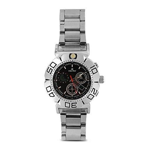 Skar Emil-Orologio da uomo al quarzo con Display con cronografo e cinturino in acciaio INOX color argento Columbus, colore: argento/nero