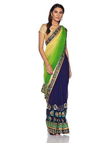 Seide Saree (Traditionelle Indische Saris Bollywood-Stil Frauen bestickt gelb und blau halb und halb Georgette Saris mit Bluse Material)