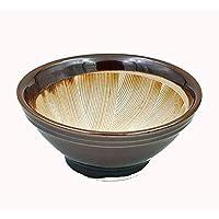 Mortero japonés de cerámica con estrías (suribachi), color marrón, cerámica, ...