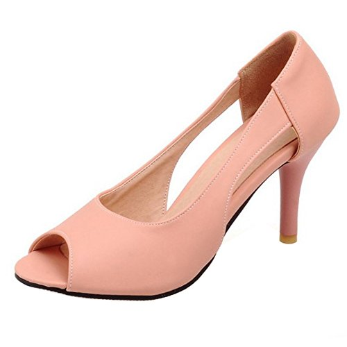 COOLCEPT Damen Mode Slip On Sandalen Open Toe Stiletto Schuhe Pink