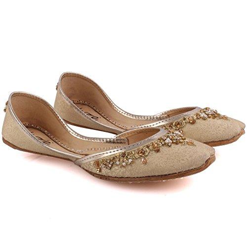 Unze Neue Frauen Traditionelle 'Beryl' Handgefertigte verschönert Leder flache indische Khussa Pumpe Hausschuhe Schuhe Größe 3-8 - UN-23 Gold