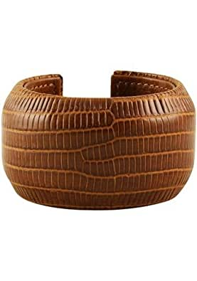 Tan Bracelet Width: 40 Mm Diameter: 50 - Genuine Lizard Skin Leather