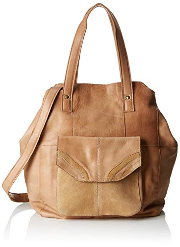 Pieces Pcgro Leather Shopper, Sacs portés épaule femme, Beige (Nature), 18,5x38x49 cm (B x H T)