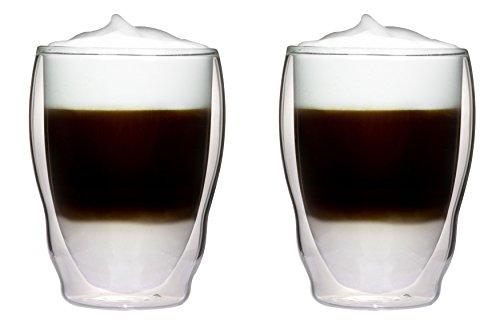 2x 460ml XL doppelwandige Thermogläser Wellenform mit Schwebe-Effekt für Cappuchino, Latte Macchiato, Cocktails, Tee, Säfte, Bier, Eis uvm. Aquartus von Feelino
