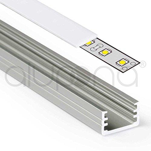 Acryl Endkappen (1m Aluprofil SLIM (MI) 1 Meter Aluminium Profil-Leiste eloxiert für LED Streifen - Set inkl Abdeckung-Schiene milchig-weiß opal mit Montage-Klammern und Endkappen (1 Meter milchig slide))