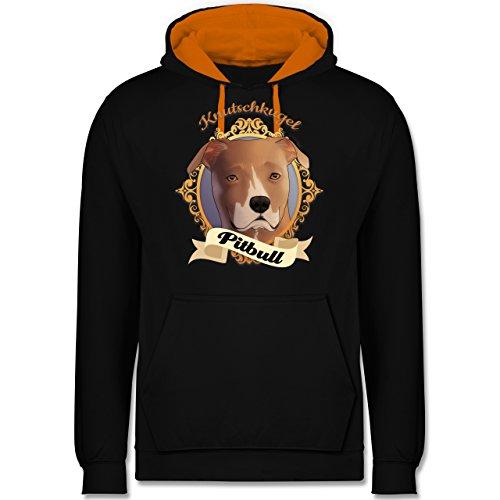 Hunde - Pitbull - Knutschkugel - Kontrast Hoodie Schwarz/Orange