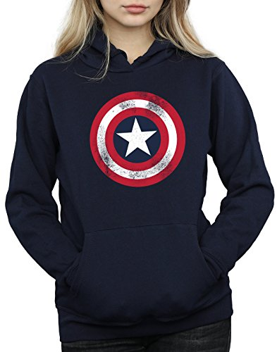 Marvel Femme Captain America Distressed Shield Sweat à capuche Marine