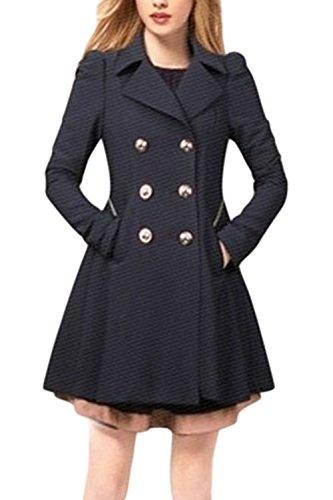 Le Donne Lo Stile Britannico A Doppio Petto Risvolto Corsetto Di Carica Impermeabile Outwear Navy