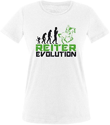 EZYshirt® Reiter Evolution Damen Rundhals T-Shirt Weiß/Schw/Grün