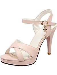 b611d52e6af33c Damen Plateau Sandaletten High Heels Stiletto Shoes Offene Sandalen mit  Riemchen Frauen Riemchensandalen…