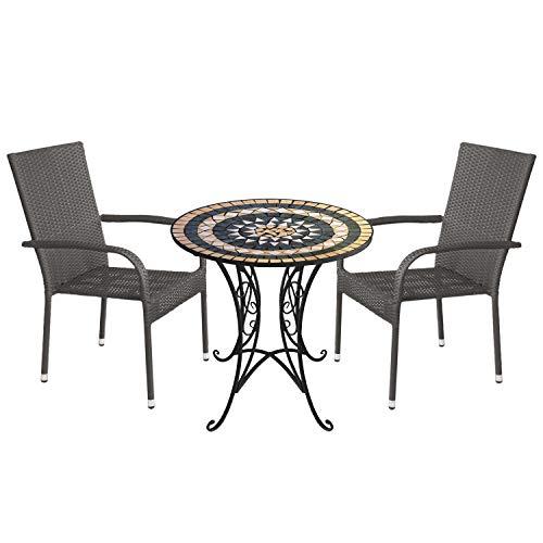 Wohaga 3tlg. Sitzgruppe Gartenmöbel-Set Mosaiktisch Ø70cm + 2X stapelbare Polyrattan Gartenstühle Grau