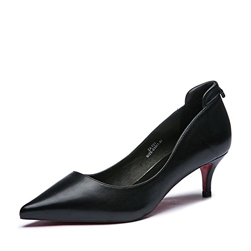 Lady tomber cuir clair mode/Avec des chaussures à talon/Chaussures Black Joker A