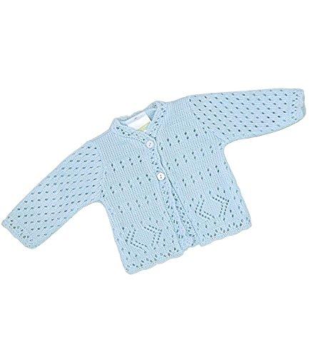 BabyPrem Frühchen Babykleidung StrickJäckchen Pullover Spitzen Jungen Unisex 44-50cm BLAU PREM 3