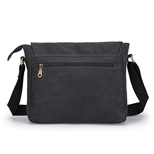 Super moderno da uomo, in tela, borsa a tracolla messenger bag laptop computer bag Satchel bag Bookbag School bag, borsa a tracolla, Uomo, Black Large Black Large
