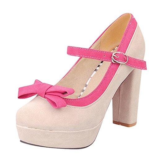 Mee Shoes Damen modern süß populär mit Schleife Schnalle ankle strap Nubukleder Plateau Pumps mit hohen Absätzen Aprikose