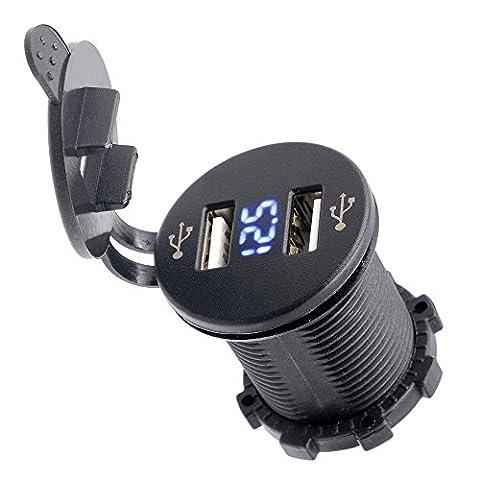 TurnRaise 4. 2A Double Prise d'Alimentation USB w / Affichage de la Tension pour Smart Phone PDA iPad iPhone Chargeur pour Voiture Moto Bateau Marine ATV RV (Bleu)