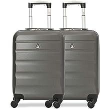 Aerolite Set de 2 ABS Bagage Cabine à Main Valise Rigide Léger 4 roulettes