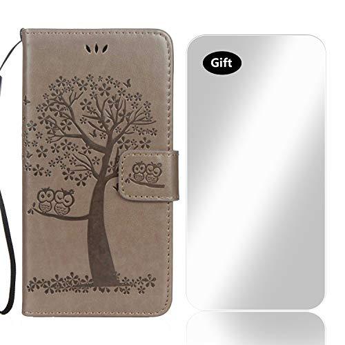 Bear Village Funda para Samsung Galaxy S6 Edge Galaxy S6 Edge Patrón de Flor Cuero Funda con Protector de Pantalla de Vidrio Templado Gratis y Ranuras para Tarjetas (#6 Gris)