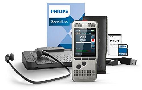 Philips DPM7700 Komplett-Set für Autor und Assistenz, enthält Diktiergerät Aufnahmegerät DPM7200, Fußschalter ACC2330, Stereo-Unterkinn-Kopfhörer LFH0334, Diktier- & Wiedergabe-Software SpeechExec 10
