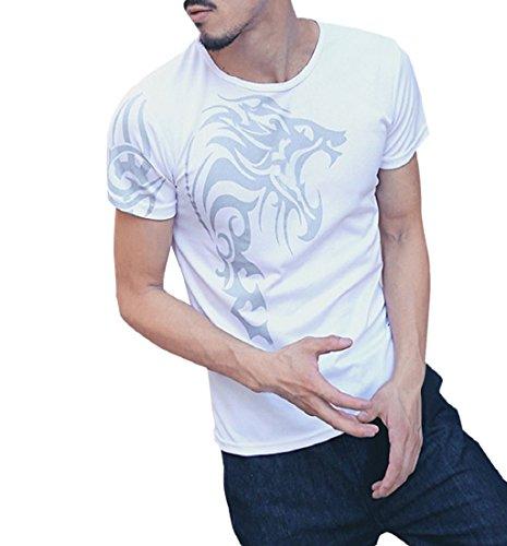 ❤️Tops Blouse Homme T-shirt, Amlaiworld Mode Personnalité Hommes Tops T-Shirt Casual Slim Manches Courtes Chemise Imprimée Chemisier Blanc Hommer Boxer (L, Blanc)
