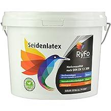 RyFo Colors Seidenlatex 3l (Größe wählbar) - hochwertige zertifizierte Profi Wandfarbe, seidenmatte Innen-Dispersion, Latexfarbe, weiß, scheuerbeständig, Nassabriebklasse 1, lösemittelfrei
