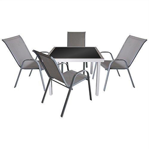 5tlg. Gartengarnitur Bistro- und Balkonmöbel Set Sitzgruppe Terrassenmöbel Glastisch 90x90cm + 4x Stapelstuhl mit Textilenbespannung