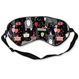 Pitbull Birthday Party Presents Dog Breed Black 100% Silk Sleep Mask Comfortable Non-Toxic, Odorless and Harmless,Soft Blindfold Eye Mask Good for Travel and Sleep