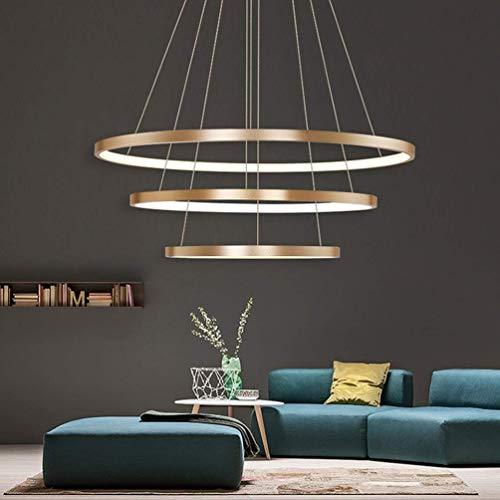 Led Suspensions Modern 3 Anneau Design Lampe Plafond Bureau Luster Decorative Hauteur Reglable Dimmable Telecommande Table Intensite Variable