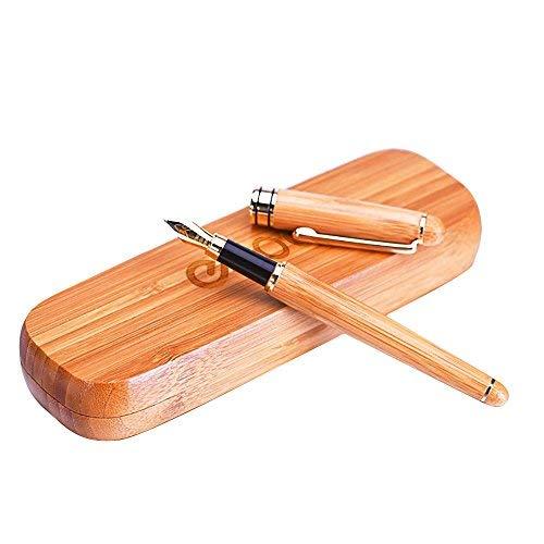 Natural de bambú hecha a mano pluma estilográfica con la caja de la vendimia y la tinta convertidor de recarga    Hechos a mano pluma estilográfica de la colección de plumas a juego con antigüedades caso de bambú.  Rendimiento fiable con un flujo s...
